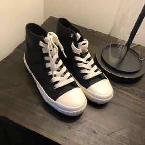 Ralph Lauren black leather hightop sneakers